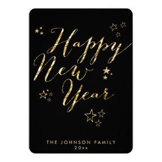 Round Black Happy New Year Cards Gold Foil 13 Cm X 18 Cm Invitation Card