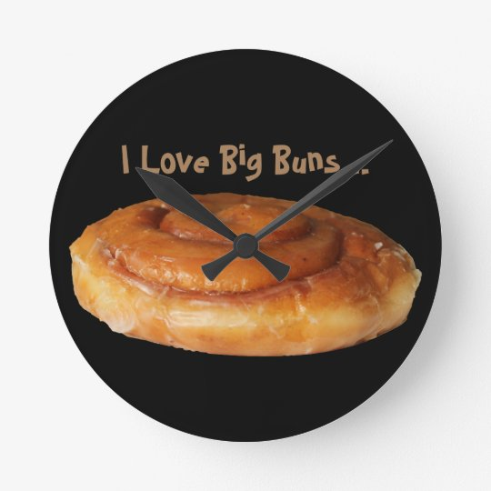 Round Black Wall Clock Love Big Buns