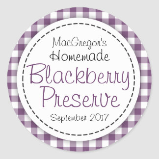 Round blackberry preserve or jam jar food label