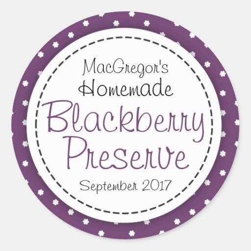 Round blackberry preserve or jam jar food label round stickers
