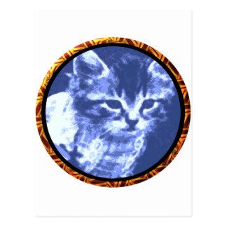 Round blue Cat Postcard
