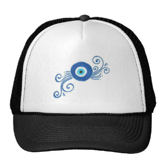 round blue evil eye hats