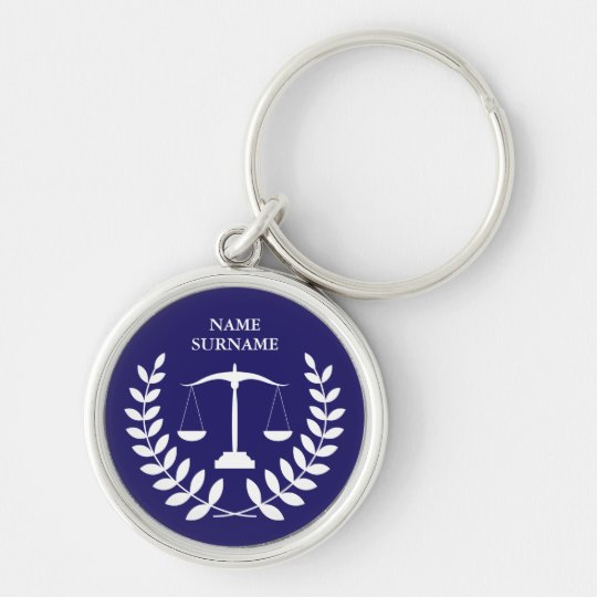 Round Blue Law Justice Scales Personalised Key Ring