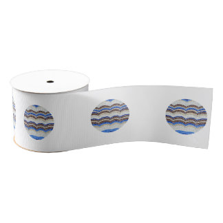 Round Blue Mosaic 3'' Wide Grosgrain Ribbon