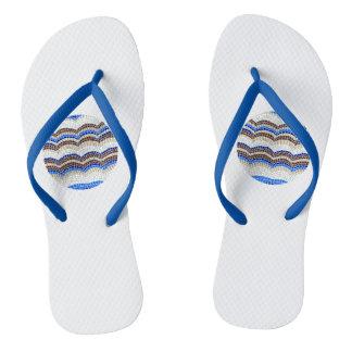 Round Blue Mosaic Adult Slim Straps Flip Flops
