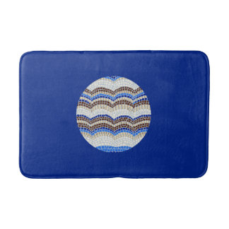 Round Blue Mosaic Medium Bath Mat