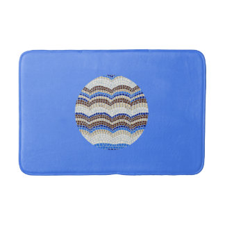 Round Blue Mosaic Medium Bath Mat Bath Mats