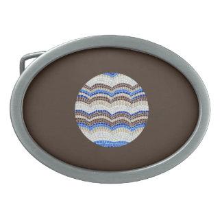 Round Blue Mosaic Oval Belt Buckle