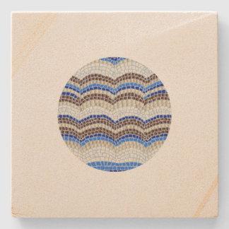 Round Blue Mosaic Sandstone Coaster