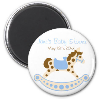 Round Blue Rocking Horse Baby Shower Magnet