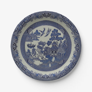 Round Blue Willow Plates Made of Paper:  7 inches 7 Inch Paper Plate