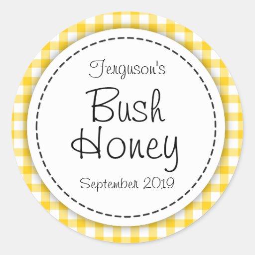 Round Bush honey yellow jam jar top food label Sticker