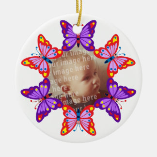 Round Butterfly Photo Frame Christmas Ornament