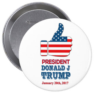 """Round Button 4"""" - """"Thumbs Up"""" President Trump"""