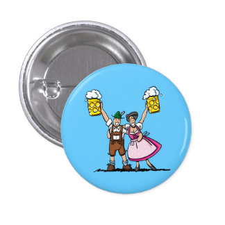 Round Button Oktoberfest Couple Beer Cheers