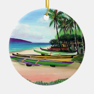 Round Canoe Beach Christmas Ornament
