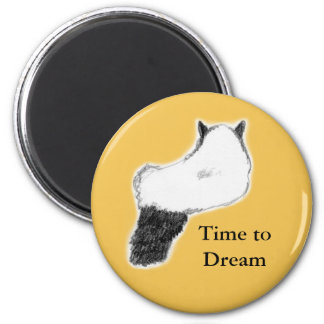 Round Cat Magnet, Time to Dream, Yellow 6 Cm Round Magnet