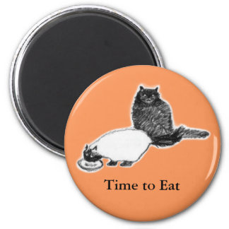 Round Cat Magnet—Time to Eat, Orange 6 Cm Round Magnet
