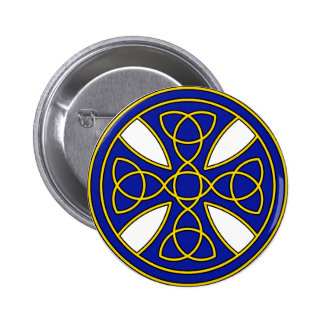 Round Celtic Cross in blue and gold 6 Cm Round Badge