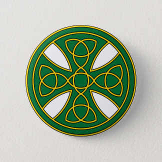 Round Celtic Cross in green and gold 6 Cm Round Badge