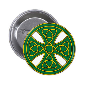 Round Celtic Cross in green and gold Button