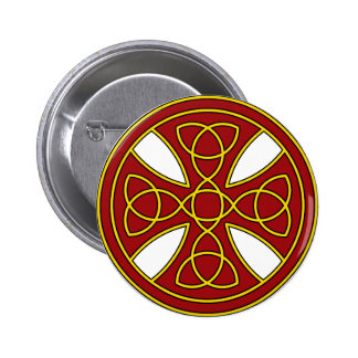 Round Celtic Cross in red and gold Pinback Button