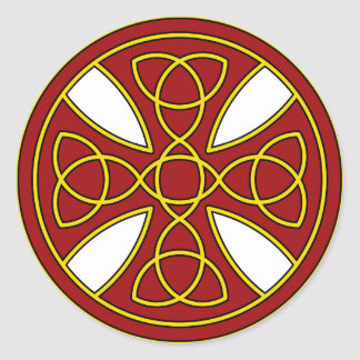 Round Celtic Cross in red and gold Classic Round Sticker