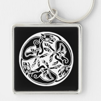 Round Celtic Dogs Silver-Colored Square Key Ring