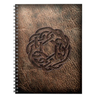 Round celtic knot on leather notebook