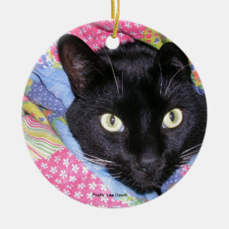 Round Ceramic Ornament: Funny Cat in Blankets Christmas Ornament