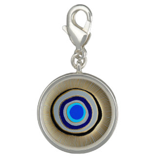 Round Charm-Silver Plated/ Greek Evil Eye
