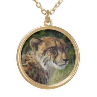 Round Cheetah charm necklace in goldtone finish.