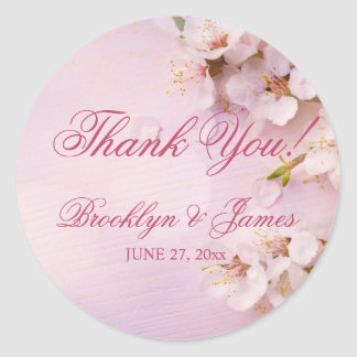 Round Cherry Blossom Elegant Wedding Stickers