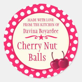 Round cherry red cookie exchange baking stickers