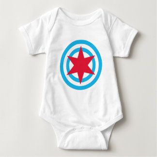 Round Chicago Flag Baby Bodysuit