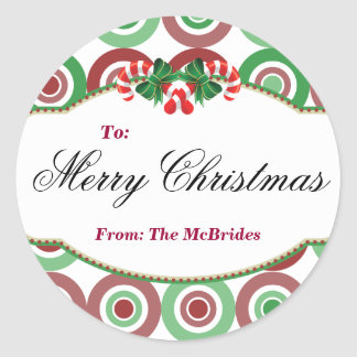 Round Christmas Candy Cane gift tag Sticker