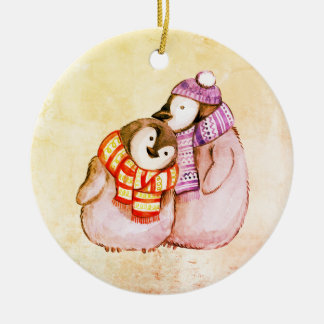 Round Christmas Decoration with Cute Penguins