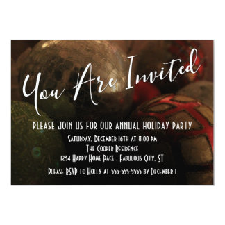 Round Christmas Ornaments Photo, Holiday Party Card