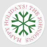 Round Christmas stickers with snowflake
