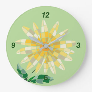 Round Clock Daisy Stained Glass Relógio Daisy