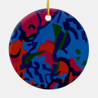 Round, colourful Abstract Art xmas decorations Round Ceramic Decoration