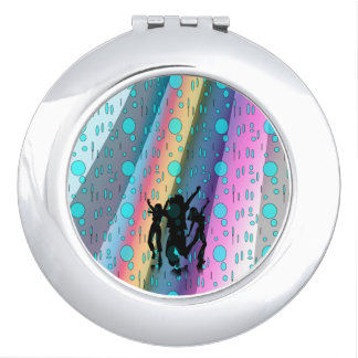 Round Compact Mirror, Dance in The Rain Design Makeup Mirrors