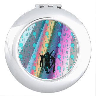 Round Compact Mirror, Dance in The Rain Design Makeup Mirrors