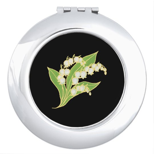 Round Compact Mirror: Lily of the Valley on