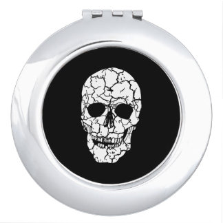 Round Compact Mirror Skull Spook