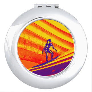 Round Compact Mirror, Surfer Girl Travel Mirrors