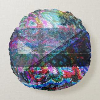 Round cotton mosaic pillow