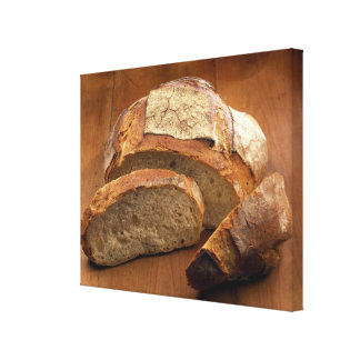 Round country-style bread cut in slices For Gallery Wrapped Canvas