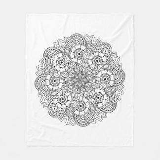 Round Design Doodle Fleece Blanket