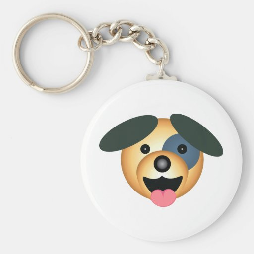 Round dog happy design key chain